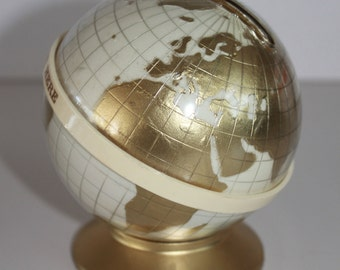 "Vintage ""Maapallo"" ""Globe"" coin bank by MK Tuote Finland"