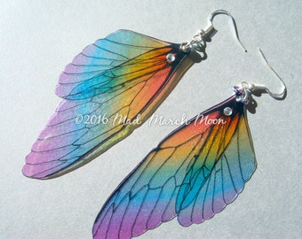Rainbow Fairy wing earrings, transparent iridescent cicada style with sterling silver ear wires, latch back and clip on version available