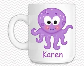 Octopus Kids Mug - Personalized Octopus Mug - Customized Mug - Melamine Cup - Personalized Kids cup