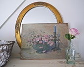 Vintage Signed Oil on Board, Bowl of Roses, Candlestick