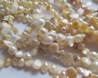 "Freshwater Pearls Cream Pearl Off White Pearl Natural Pearls 16"" Strand Freshwater Pearl Beads #EB13"