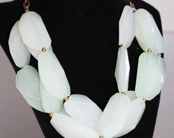 SALE! Massive Astounding Large Pale Green Faceted Glass Triple Strand Necklace NM