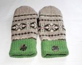 Winter Wool Mittens - Wool Felted Mittens - Sweater Mittens - Fleece Lined Mittens - Womens Size Medium - Green & Tan