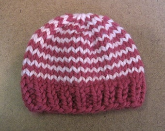 Chunky Knit Baby Girl Hat, Baby Stripe Beanie - Raspberry and Blossom