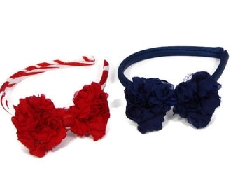 Doll Bow Headband - Choice of Blue or Red