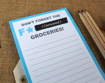 Don't Forget The F(censored)g Groceries Mature Magnetic Grocery List funny witty cheeky stationery notepad pad office work college fun gift
