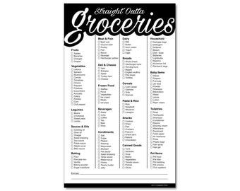 Guajolote Prints Straight Outta Groceries Funny Magnetic Grocery List Black