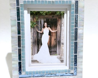 Wedding Gift Frame, Photo Frame Birthday Gift, White with Blue Mosaic Frame, Decorative Frame, Baby Shower Gift, Beach Decor Accents