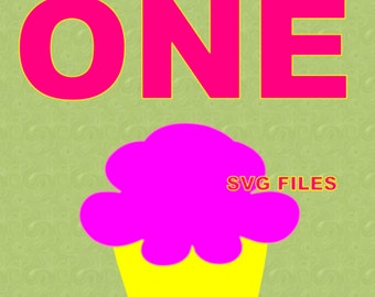 One Cupcake SVG File Instant Download Cutting Machine File Birthday Cutting File