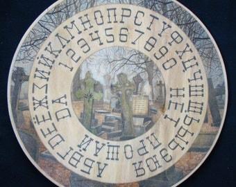 "Ouija board  - Spirit board - Talking board ""The Old Cemetery"" / Any Alphabet & Free Shipping"