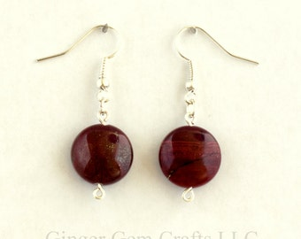 Apple Jasper earrings, drop earrings, handmade earrings, jasper stones
