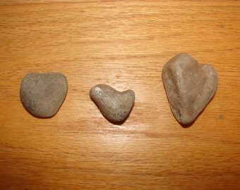 Three Natural worn heart shaped river rocks, crafting projects, decor jewelry, real stones, nature projects, pebbles rocks, beach rock