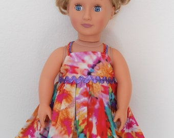 Retro tye dye colorful dress for American Girl doll and 18 inch dolls