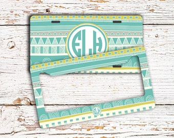 Unique Valentine's Day gift - Monogram Aztec license plate or frame - Tribal car tag aqua lime green - Personalized bicycle plate  (1014)