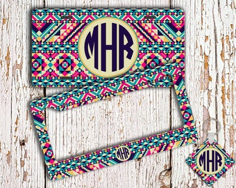 Monogrammed license plate, frame, Bridesmaid gift idea, Personalized car tag, Tribal vanity plate, Cute Aztec bicycle license plate  (1261)