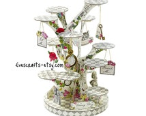 Alice in wonderland ~ cupcake stand ~ Alice cake stand ~ mad hatter tea party ~ garden party decor ~ white rabbit Ready to ship