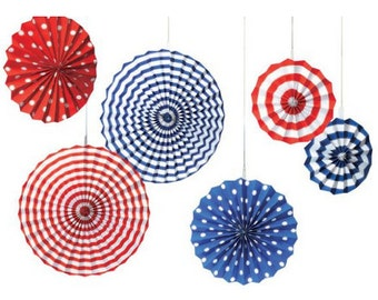 Captain America party decorations, paper fan set, patriotic gifts,  Red white blue poms, Independence Day, captain America shield, july 4th