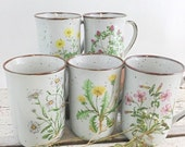 Christmas in July Set of Five Pretty Vintage Wildflower Mugs