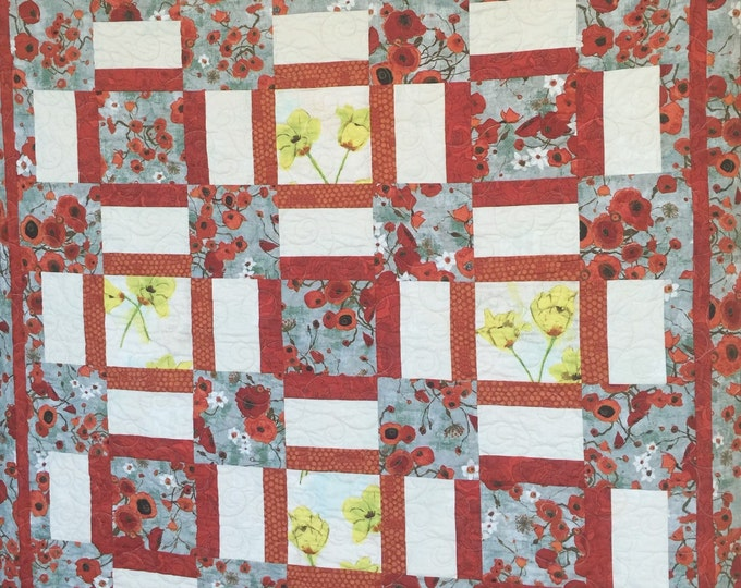Lap quilt, Spring poppy quilt, large wall hanging, art quilt, poppy home decor