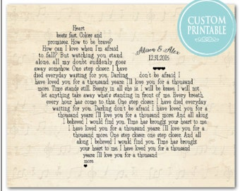 Printable - Any song lyrics - Customized Anniversary Wedding Gift - Wedding Song - Wedding Vows - Poetry - heart typography - wedding art