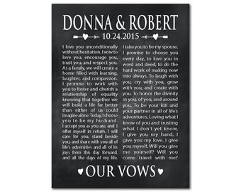 Wedding Canvas Wall Art - Wedding Wall Decor - Our Vows Ready to hang canvas - Personalized Anniversary, Wedding, Gift - gift for couple