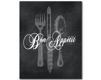 Kitchen Wall Decor - Kitchen Wall Art - Bon Appetit - Typography Word Art - spoon fork knife - French inspired chalkboard print