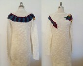 ON SALE 1980s Vintage Women's White Knit Dress With Woven Dragon Size M