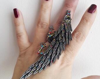 Hedgehog Statement Ring, Full finger ring, Cocktail ring,  Gift for her,Birthday Gift, Finger Ring, adjustable ring, Armor ring, Long rings