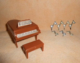 Piano, Bench, Musical Notes-Plastic Cake Toppers