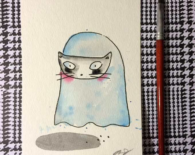 """Halloween Watercolor Painting """"Ghost With Mask"""", 5x7 inches decoration."""