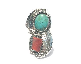 Vintage Navajo Big Sterling Silver Turquoise & Coral Leaf Ring