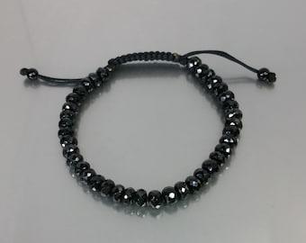 Black Spinel Macrame Bracelet (6mm)