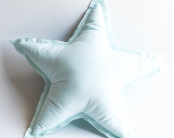 Star Shaped Pillow, Star Cushion, Cotton, Raw Edges, Modern Baby Room Decor, Baby Girl, Baby Boy Nursery, Scandinavian Style, Aqua Blue