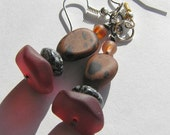 Mahogany Obsidian, Black & White Glass Beads, Red Brown Recycle Glass Beaded Dangle Earrings