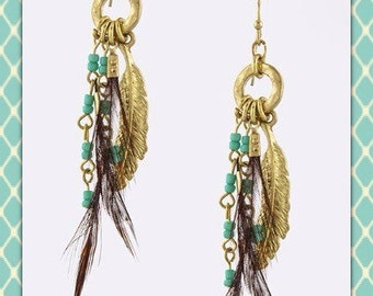 Turquoise and Feather Beaded Earrings