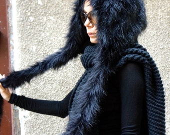 NEW Extra Warm  Black Chullo Vegan Fur Hat / Winter Extravagant Hat  by AAKASHA