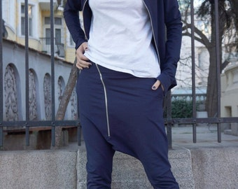 NEW Collection Loose Casual Navy Drop Crotch Harem Pants / Extravagant Black Pants/Unisex pants by AKASHA A05368