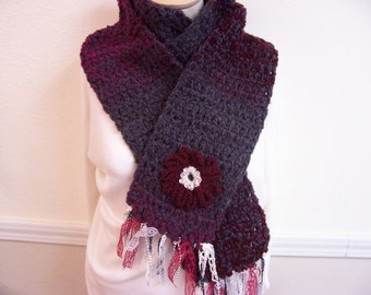 Crochet Scarf with flower & lace