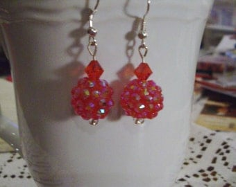 Red Glitter ball Earrings - Free Shipping