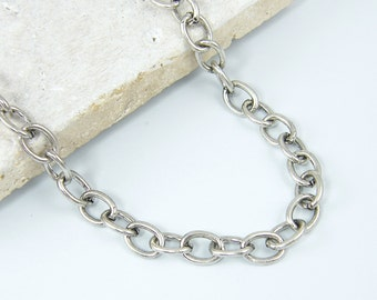 Antique Silver Chain Necklace - Heavy Large Oval Link 22 1/2 Inch Oval Link Silver Chain Large Cable Chain |BC1-2