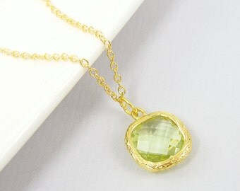 Peridot Green Necklace Drop with 18 or 20 Inch Gold Chain August Birthstone Necklace August Birthday Jewelry |PG2-4