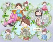 Matilda Labels - Children Illustration - set of 9 - digital collage sheet