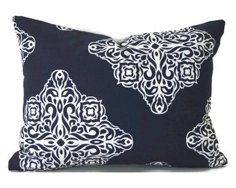 Lumbar Pillow Cover ANY SIZE Decorative Pillow Cover Premier Prints Esperanza Navy
