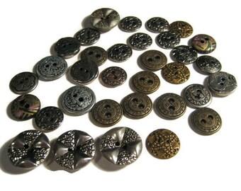 Vintage Buttons, Silvertone, Brass Metal, Decorative, Some FACE Buttons...LOT 17