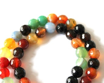 8 mm Beautiful Multi Color Faceted Agate Beads