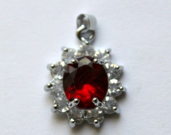 Oval Ruby Red Pendant/Charm with Rhinestones with Silver Bail