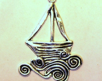 Antique Silver Artistic Sail Boat on the Ocean Waves Charm/Pendant