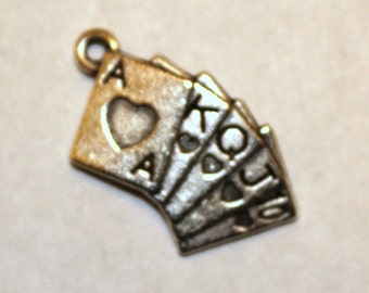10 Antique Silver Poker Cards Straight Royal Flush Charms/Pendants