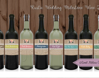 PRINTED 8 Rustic Wedding Milestone Wine Labels for Bridal Shower / Printed Wine Labels / by Sweet Melissa Creations