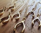 40% OFF SALE Leonani necklace - gold wishbone necklace, gold pendant necklace, good luck necklace, delicate gold filled wishbone necklace, m